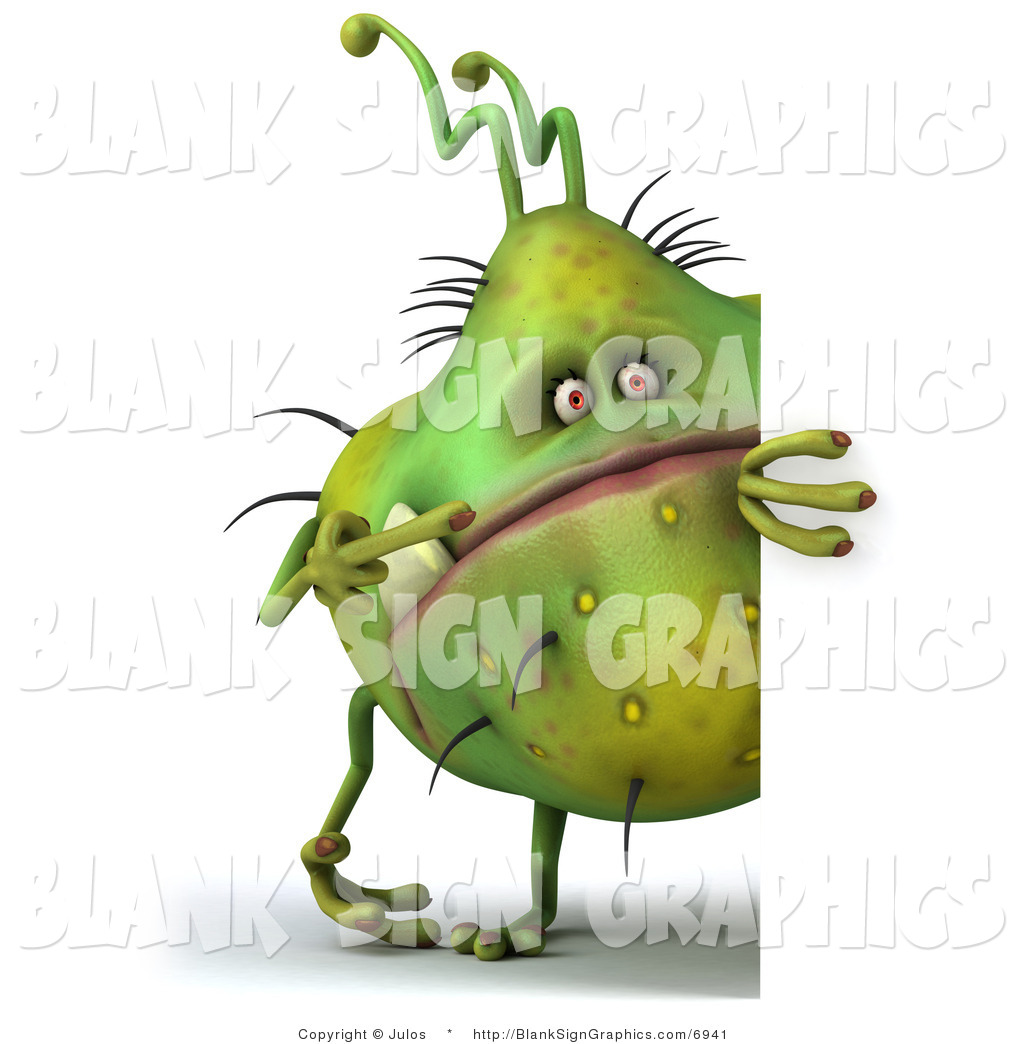Illustration of a 3d Chubby Monster or Germ with a Blank Sign
