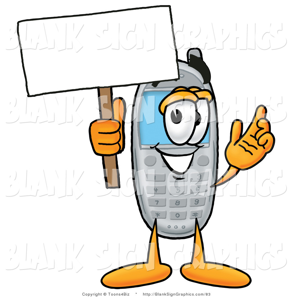 illustration of a happy cell phone holding a blank sign and waving rh blanksigngraphics com Nurse Border Clip Art No Cell Phone Clip Art