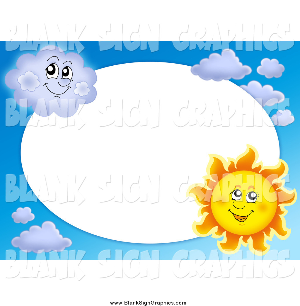 Vector Cartoon Illustration of a Sun and Cloud Frame Around White ...