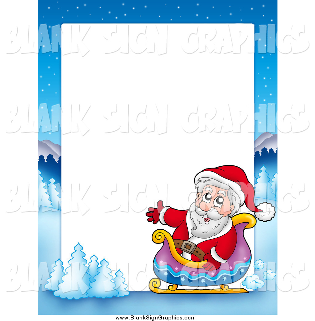 Christmas Border Of Santa In A Sleigh With Winter Landscape Around White Space