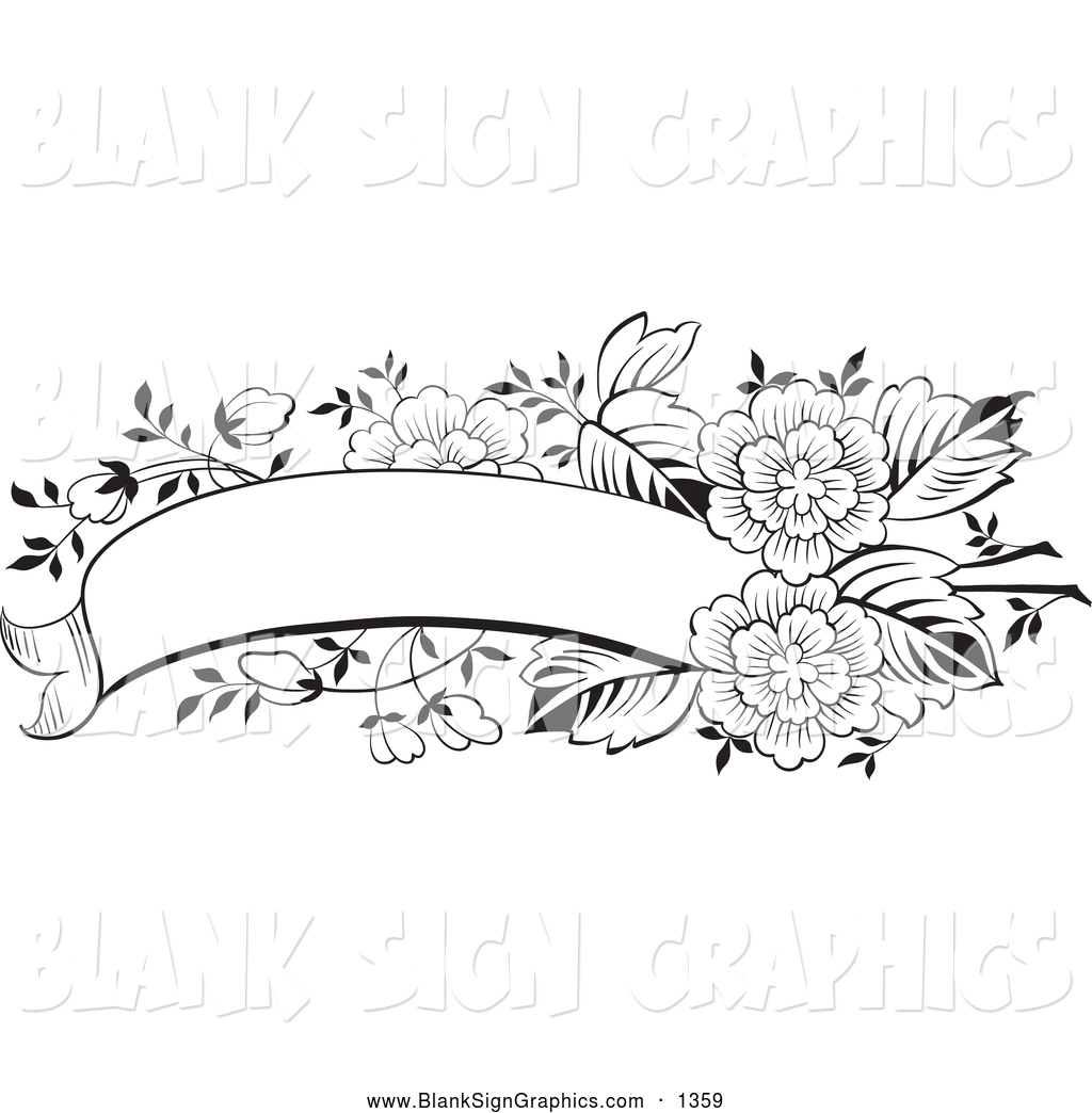 Royalty Free Flower Stock Blank Sign Designs Banner Coloring Pages