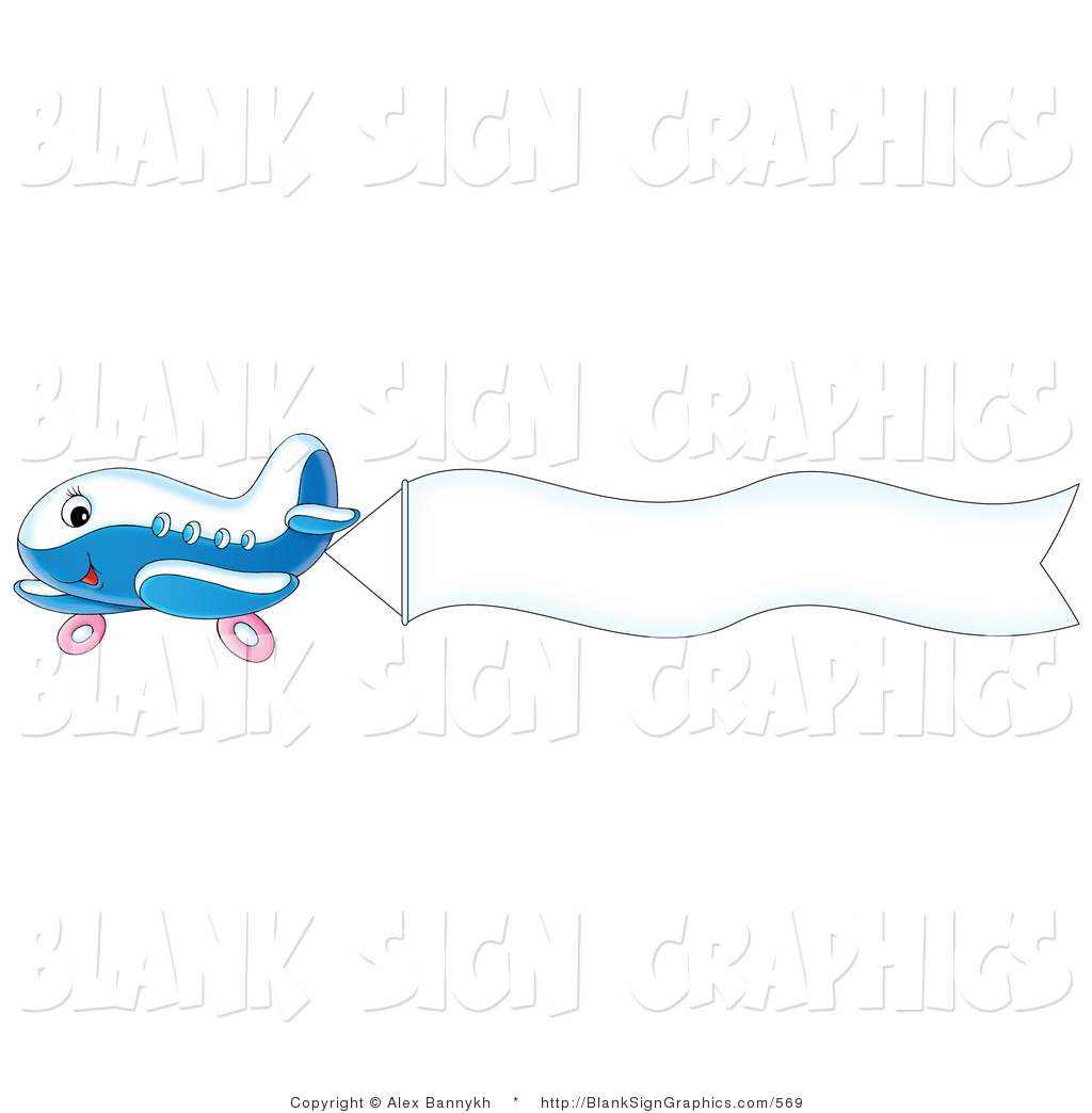 Airplane With Banner Clipart Flying a blank sign banner