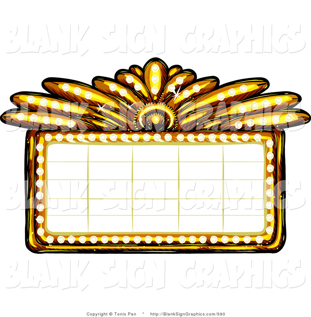 Vector illustration of a gold casino or theater marquee for Theatre sign clipart