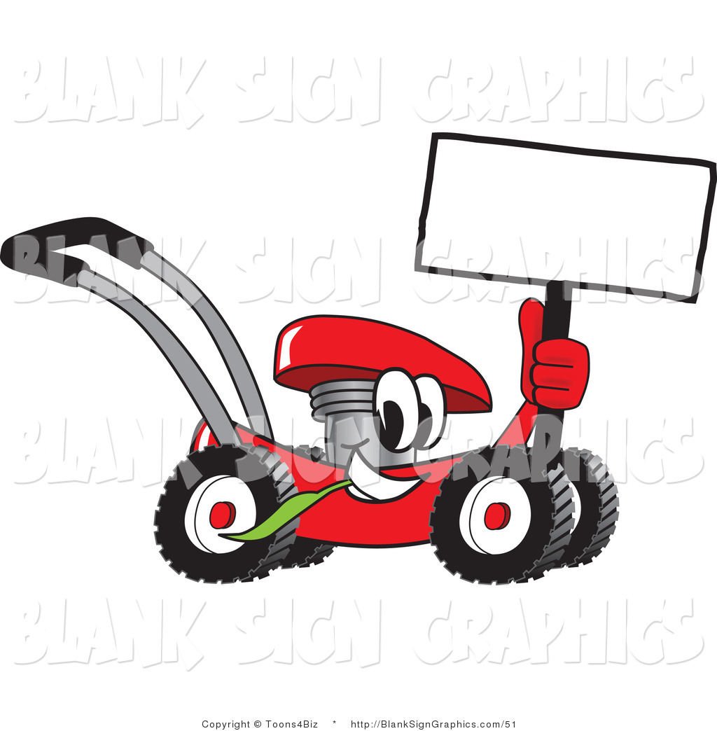 blank lawn care logos. vector illustration of a happy red lawn mower holding blank sign by . care logos