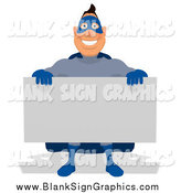 Cartoon Illustration of a Blue Super Hero Man Holding a Sign by Julos