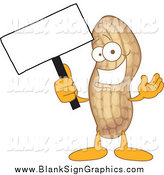 Cartoon Illustration of a Peanut Holding a Blank Sign by Toons4Biz