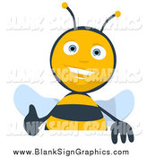 Cartoon Illustration of a Thumbs up Bee over a Blank Sign by Julos