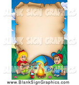 Cartoon Illustration of a Vertical Parchment Page with Campers by Visekart