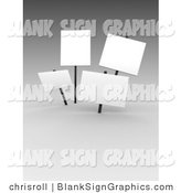 Illustration of 3d Blank White Signs on Gray by Chrisroll