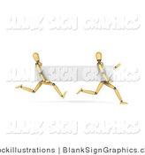 Illustration of 3d Running Wood Mannequins with a Blank Banner by Stockillustrations