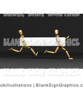 Illustration of 3d Wood Mannequins Running with a Blank White Banner by Stockillustrations