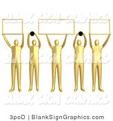 Illustration of 5 Golden People Holding Domain Signs by 3poD