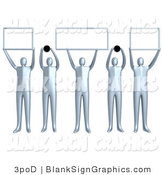 Illustration of 5 Silver People Holding up Blank Domain Signs by 3poD