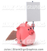 Illustration of a 3d Angel Pig Holding a Blank Sign by Julos