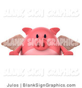 Illustration of a 3d Angel Pig over a Blank Sign by Julos