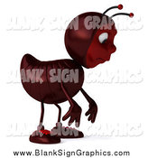 Illustration of a 3d Ant Facing Right and Pouting by Julos