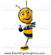December 15th, 2014: Illustration of a 3d Bee Holding a Thumb up Around a Blank Sign by Julos
