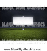 Illustration of a 3d Billboard Illuminated in a Field at Night by Mopic