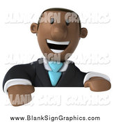 Illustration of a 3d Black Business Man Smiling over a Blank Sign by Julos