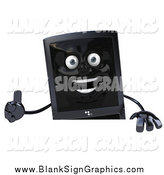 Illustration of a 3d Black Cellular Telephone Holding Thumb up over a Sign by Julos