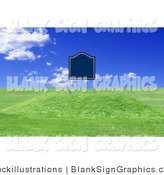 Illustration of a 3d Blank Sign on Undeveloped Land with Rolling Hills by Stockillustrations