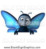 Illustration of a 3d Blue Butterfly Smiling down over a Blank Sign Board by Julos