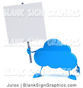 Illustration of a 3d Blue Cloud Holding a Blank Sign by Julos