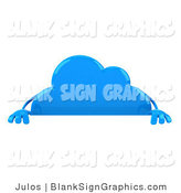 Illustration of a 3d Blue Cloud with a Blank Sign Board by Julos