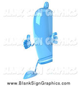 Illustration of a 3d Blue Condom Character Holding a Thumb up Around a Sign by Julos