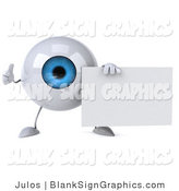 Illustration of a 3d Blue Eyeball Holding a Blank Sign by Julos