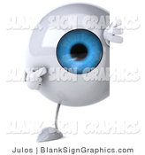 Illustration of a 3d Blue Eyeball with a Blank Sign by Julos