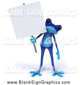 Illustration of a 3d Blue Frog Holding a Blank Sign by Julos