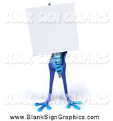 Illustration of a 3d Blue Frog Holding and Standing Behind a Blank Sign by Julos
