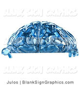 Illustration of a 3d Blue Glass Brain Pointing at a Blank Sign by Julos