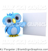 Illustration of a 3d Blue Owl Presenting a Blank Sign by KJ Pargeter