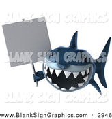 Illustration of a 3d Blue Shark Holding a Blank Sign by Julos