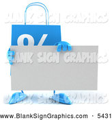 Illustration of a 3d Blue Shopping Bag Holding a Blank Sign by Julos