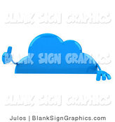 Illustration of a 3d Blue Thumbs up Cloud Holding a Blank Sign by Julos