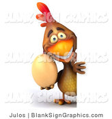 Illustration of a 3d Brown Chicken Holding an Egg and Blank Sign by Julos
