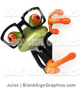 Illustration of a 3d Business Frog Holding a Blank Sign by Julos