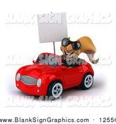 Illustration of a 3d Business Squirrel Wearing Sunglasses, Holding a Sign and Driving a Red Car by Julos