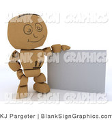 Illustration of a 3d Cardboard Box Man with a Blank Sign by KJ Pargeter