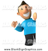 Illustration of a 3d Casual White Man Waving Around a Blank Sign by Julos