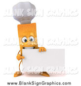 October 16th, 2014: Illustration of a 3d Chef French Fry Holding a Blank Sign by Julos