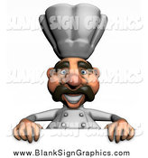 Illustration of a 3d Chef over a Sign by Julos