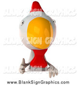 Illustration of a 3d Chicken Looking Holding a Thumb up over a Blank Sign by Julos