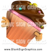 Illustration of a 3d Chocolate Frosted Cupcake Character Pointing and Looking Around a Blank Sign by Julos