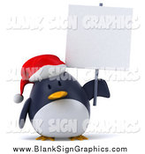 November 8th, 2014: Illustration of a 3d Christmas Penguin Holding a Blank Sign by Julos