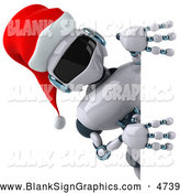 Illustration of a 3d Christmas Robot Character Looking Around a Sign by Julos