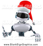 Illustration of a 3d Christmas Robot Holding a Thumb up over a Blank Sign by Julos